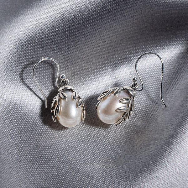 Pearl Drop Earrings Silver Jewelry Accessories Gift Women charm