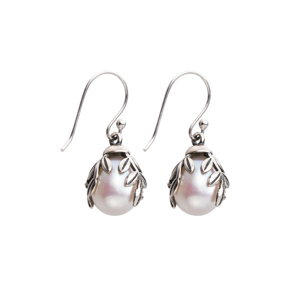 Pearl Drop Earrings Silver Jewelry Accessories Gift Women