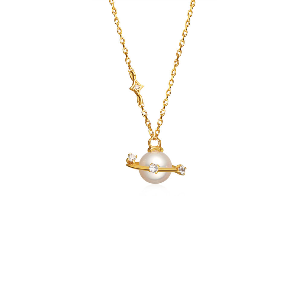 Cute planet fresh water pearl pendant necklace gold plated sterling pearl pendant necklace gold sterling silver jewelry accessories women chic aloadofball Gallery