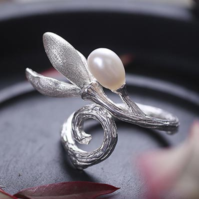 Pearl Silver Ring June Birthstone charm Jewelry