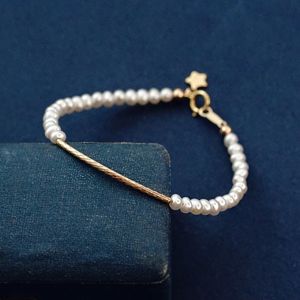 Pearl and Black Spinel Bead Bracelet 14K Gold Plated Metals Jewelry For Women
