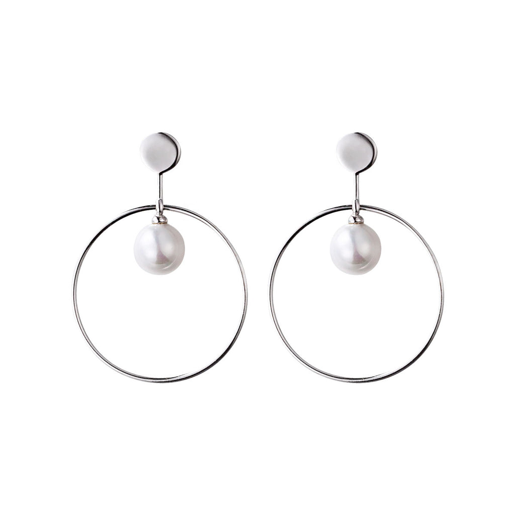 Pearl Stud Earrings Silver Jewelry Accessories Gifts Women