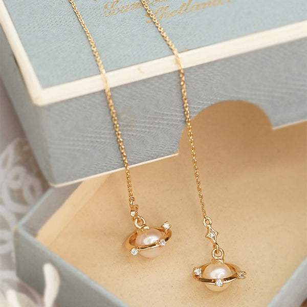 Pearl Threader Drop Earrings Gold Silver Jewelry Women fashionable