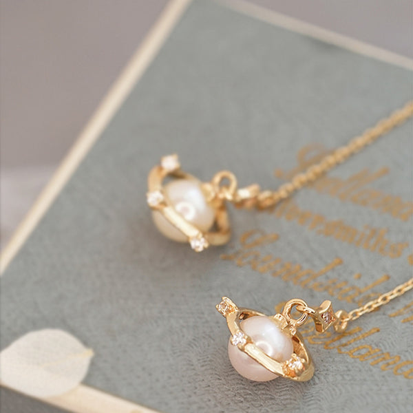 Pearl Threader Drop Earrings Gold Silver Jewelry Women fine