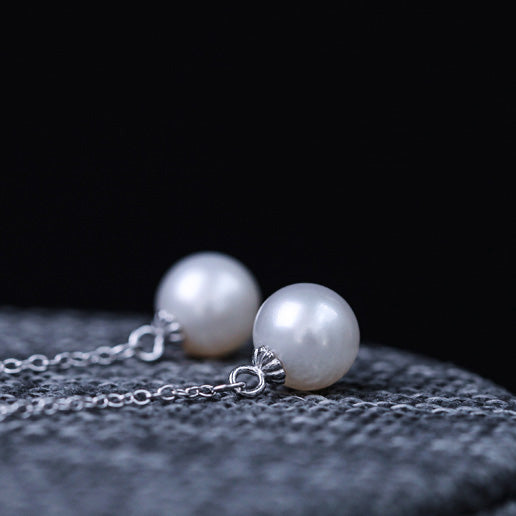 Freshwater Pearl Dangle Threader Earrings in Sterling Silver Jewelry Accessories Gifts For Women