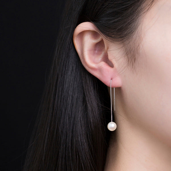 Pearl Threader Earring Silver Jewelry Accessories Gifts Women
