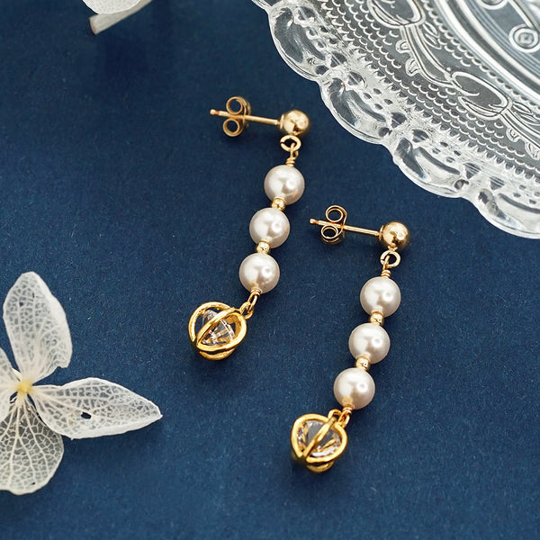 Pearl Zircon Stud Clip Earrings Gold Unique Handmade Jewelry Women adorable