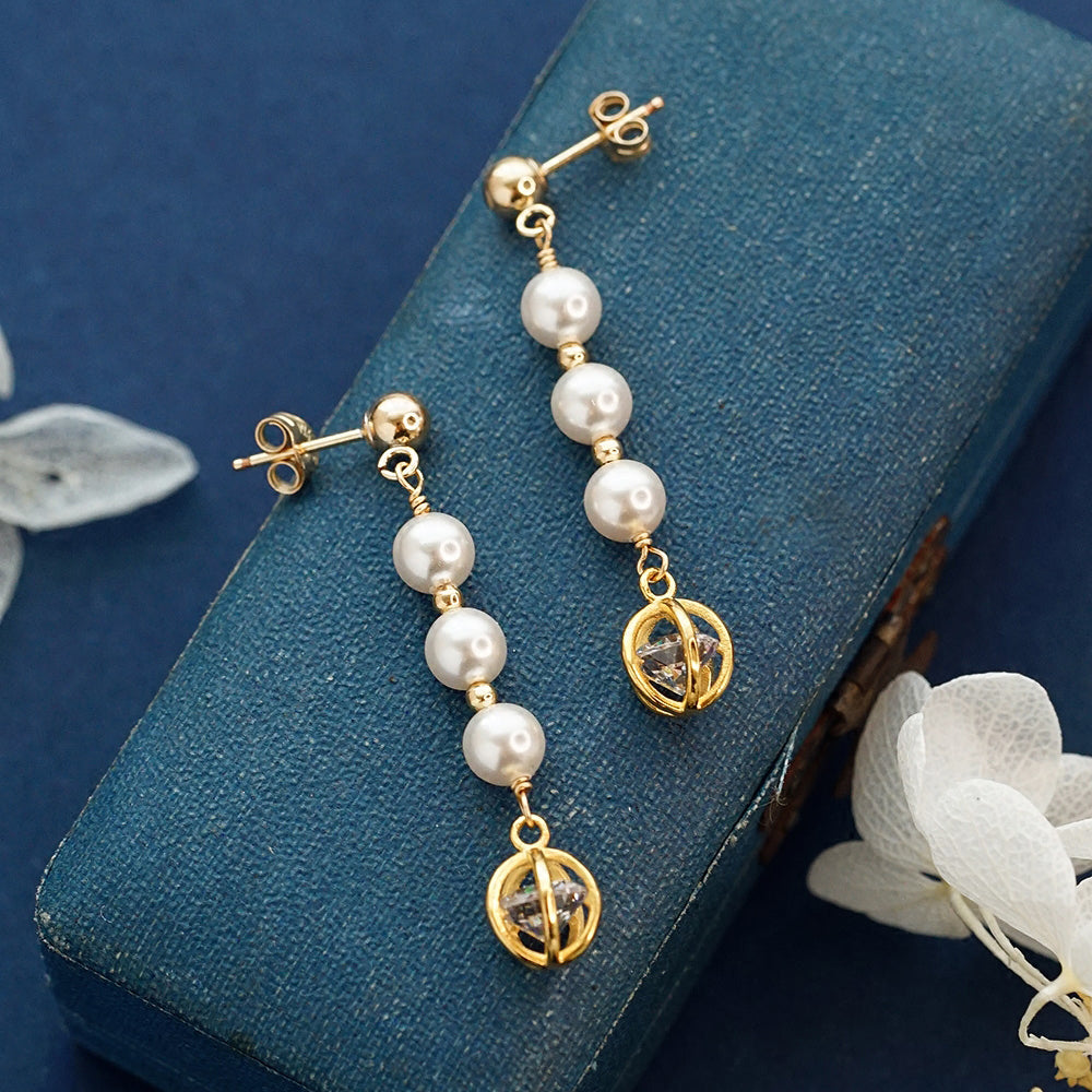 Pearl Zircon Stud Clip Earrings Gold Unique Handmade Jewelry Women
