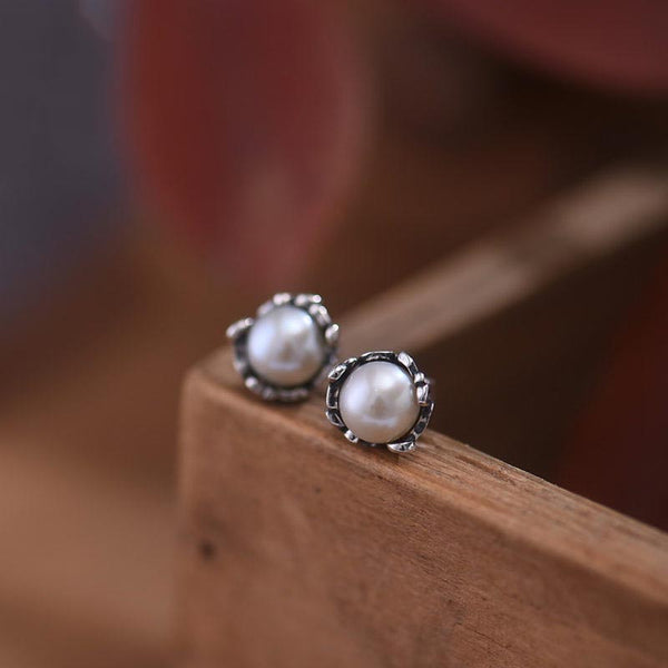 Pearl stud Earrings Silver June Birthstone Jewelry women