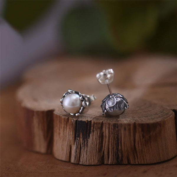 Pearl stud Earrings Silver June Birthstone Jewelry