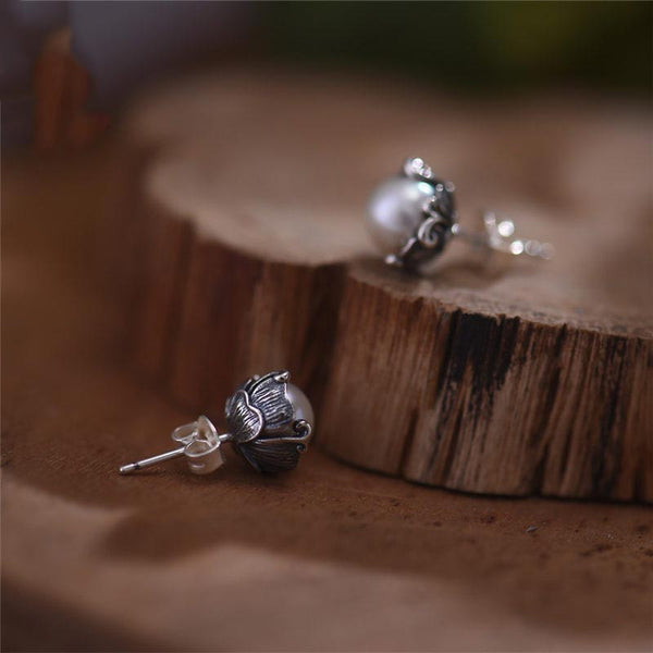 Pearl stud Earrings Silver June Birthstone charm Jewelry