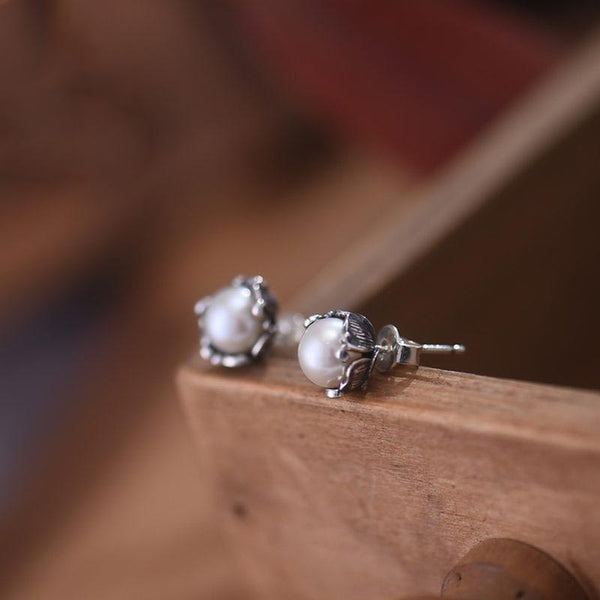 Pearl stud Earrings Silver June Birthstone naturl Jewelry