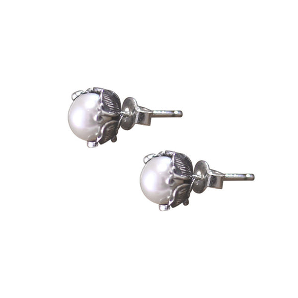 Pearl stud Earrings Silver June Birthstone