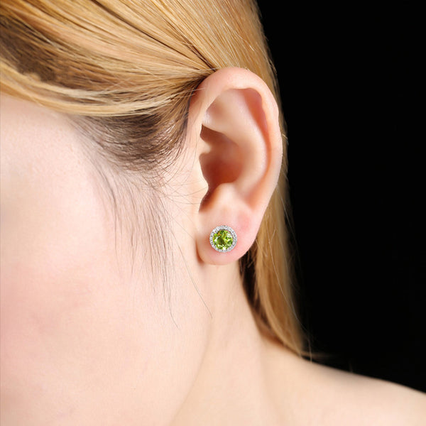 Peridot Stud Earrings Gold Silver Handmade Jewelry Accessories Gifts Women ADORABLE