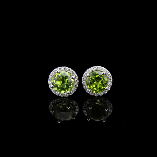 Peridot Stud Earrings in 18K White Gold Plated Sterling Silver Handmade Jewelry Accessories Gifts Women