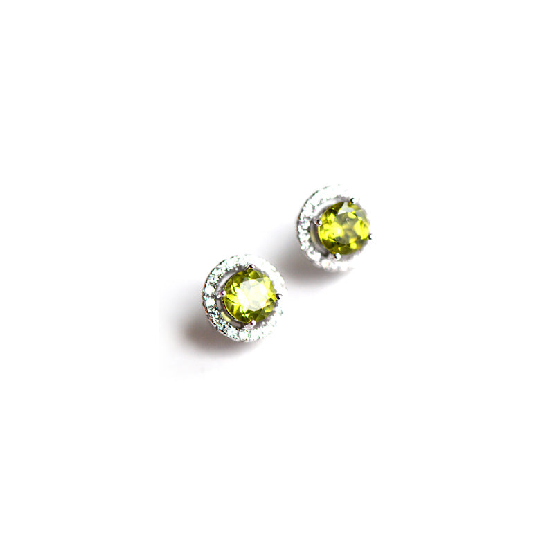 stud peridot round earrings cabochon sterling birthstone august silver
