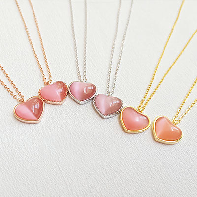 Pink Cat's Eye Pendant Necklace Gold Silver Gift Choker Jewelry Accessories Women charming