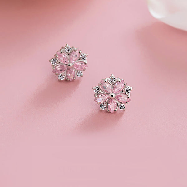 Pink gemstone Zircon Stud Earrings Silver Jewelry Accessories Gifts Women cute