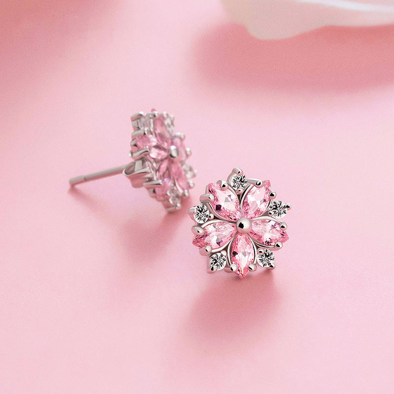Pink gemstone Zircon Stud Earrings Silver Jewelry Accessories Gifts Women sakura