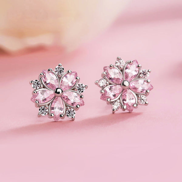 Pink gemstone Zircon Stud Earrings Silver Jewelry Accessories Gifts Women