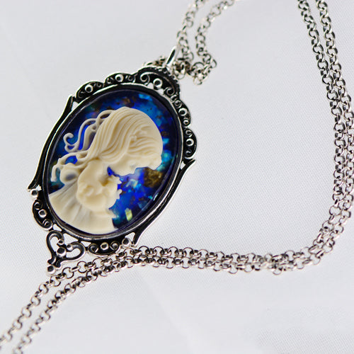 Prayer Vintage Blue gemstone Pendant Necklace Silver Handmade Jewelry Women adorable