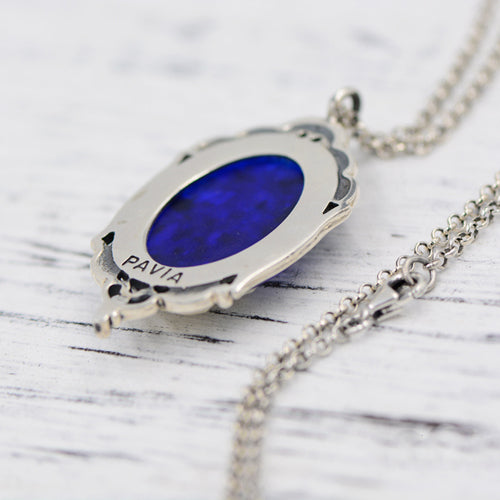 Prayer Vintage Blue gemstone Pendant Necklace Silver Handmade Jewelry Women beautiful