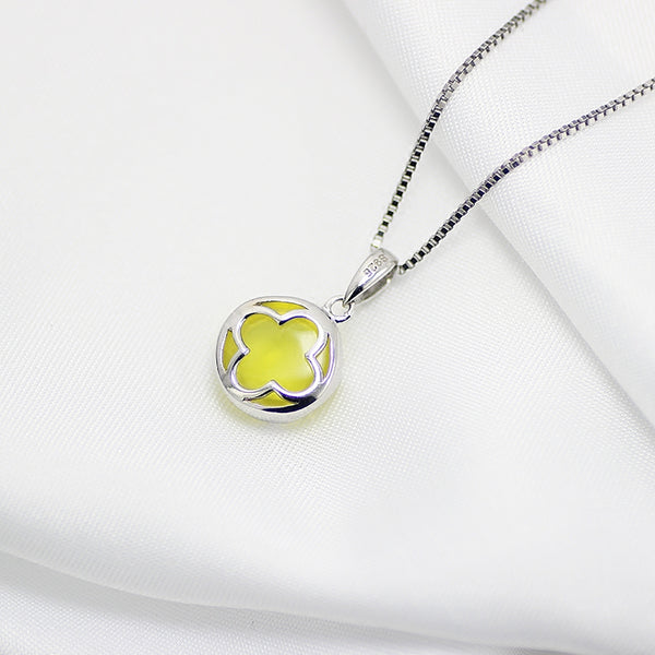 Prehnite Pendant Necklace Silver Gemstone Jewelry Accessories Women back