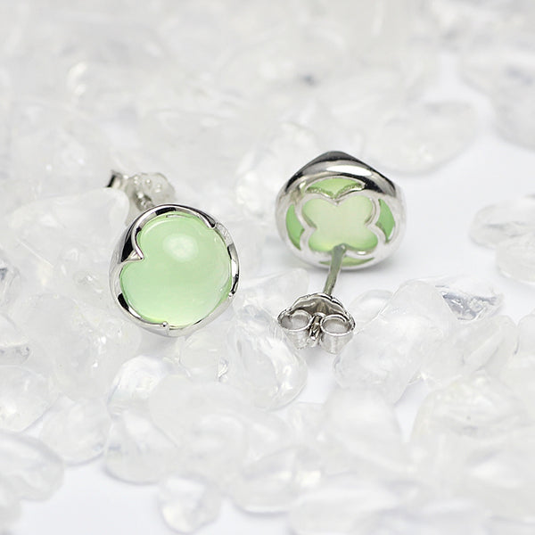 Prehnite Stud Earrings Silver Gemstone Jewelry Accessories Gifts Women GREEN