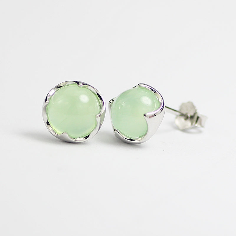 Prehnite Stud Earrings Silver Gemstone Jewelry Accessories Gifts Women