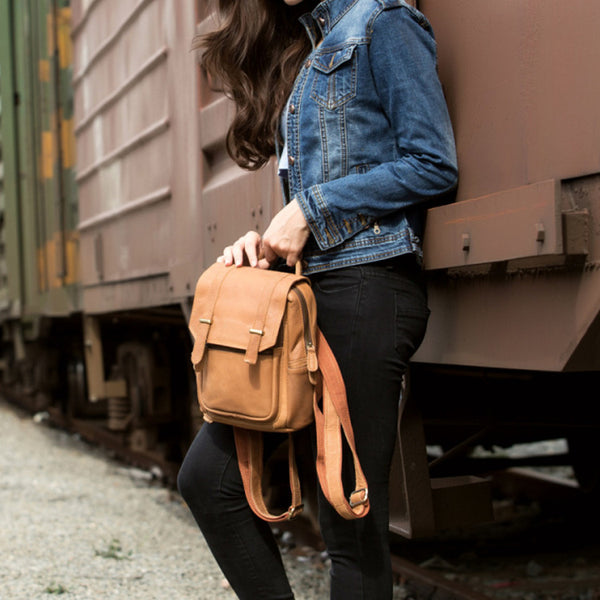 Quality Womens Small Brown Leather Backpack Purse Bags Backpacks for Women Boutique