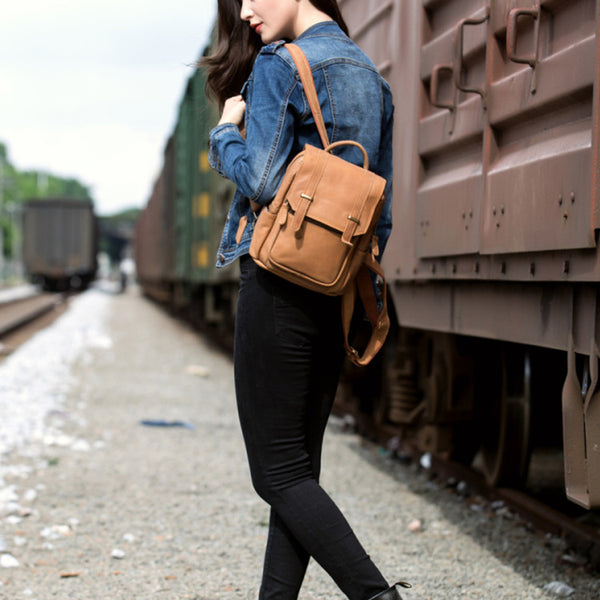 Quality Womens Small Brown Leather Backpack Purse Bags Backpacks for Women Brown