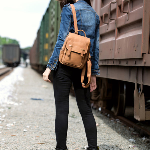 Quality Womens Small Brown Leather Backpack Purse Bags Backpacks for Women Chic