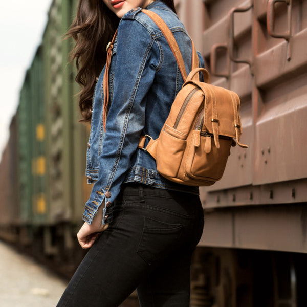Quality Womens Small Brown Leather Backpack Purse Bags Backpacks for Women Cowhide