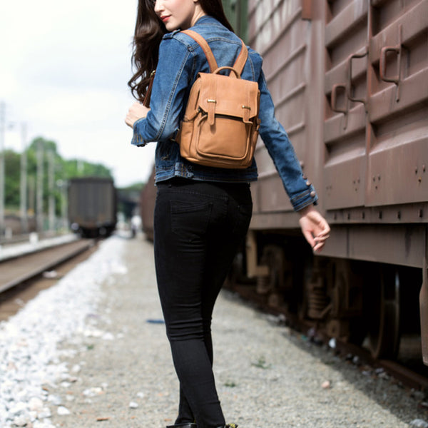 Quality Womens Small Brown Leather Backpack Purse Bags Backpacks for Women Cute