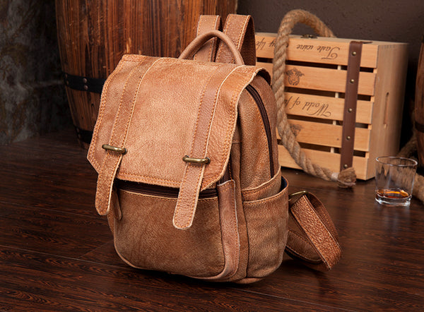 Quality Womens Small Brown Leather Backpack Purse Bags Backpacks for Women Fashion