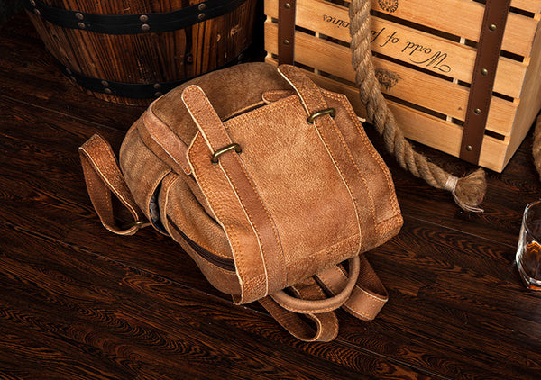 Quality Womens Small Brown Leather Backpack Purse Bags Backpacks for Women Funky