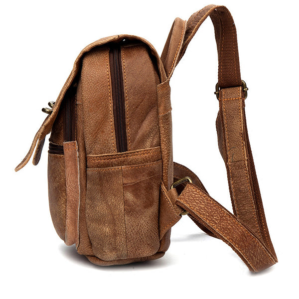 Quality Womens Small Brown Leather Backpack Purse Bags Backpacks