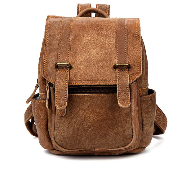 Quality Womens Small Brown Leather Backpack Purse