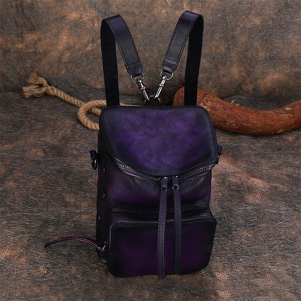 Quilted Ladies Small Leather Sling Backpack Purse Rucksack For Women Best