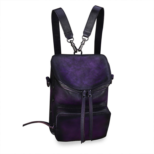 Quilted Ladies Small Leather Sling Backpack Purse Rucksack For Women Cool