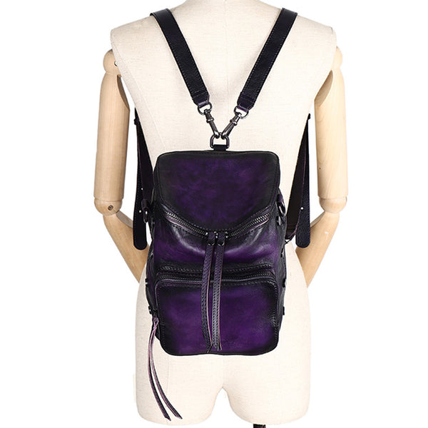 Quilted Ladies Small Leather Sling Backpack Purse Rucksack For Women Cute