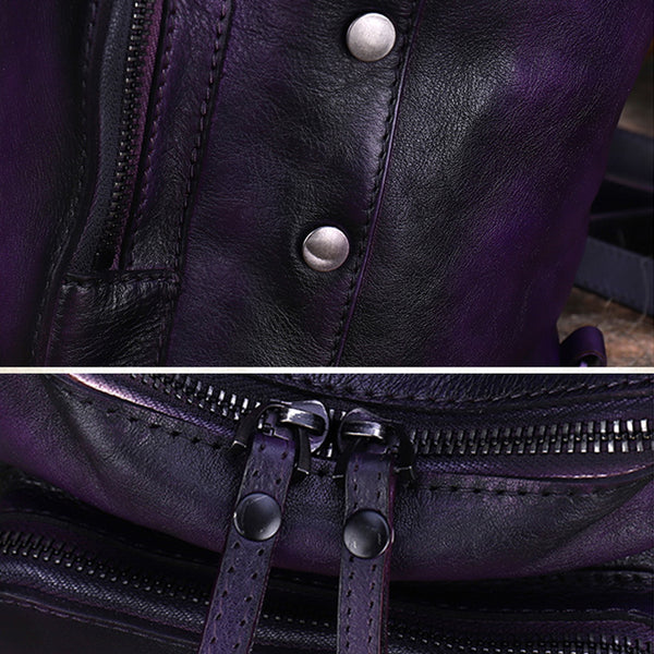 Quilted Ladies Small Leather Sling Backpack Purse Rucksack For Women Durable