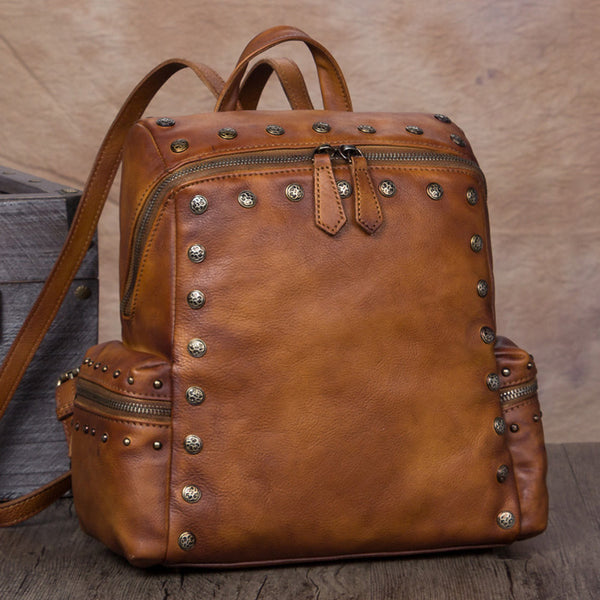 Cool Ladies Studded Leather Rucksack Backpack Handmade Backpacks for Women