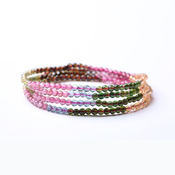 Rainbow Tourmaline Beaded Bracelets Handmade Gemstone Jewelry Accessories Women