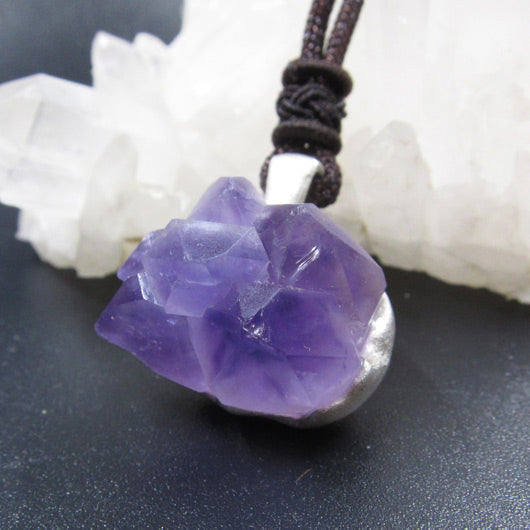 Raw Amethyst Pendant Necklace Silver 1