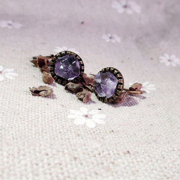 Raw Amethyst Stud Earrings Vintage Copper Handmade Jewelry Accessories Women February birthstone