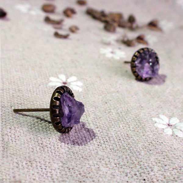 Raw Amethyst Stud Earrings Vintage Copper Handmade Jewelry Accessories Women February birthstone gift
