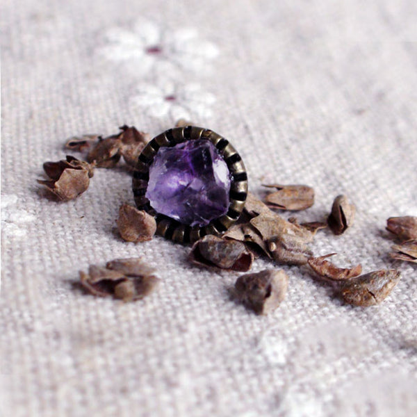 Raw Amethyst Stud Earrings Vintage Copper Handmade Jewelry Accessories Women gift
