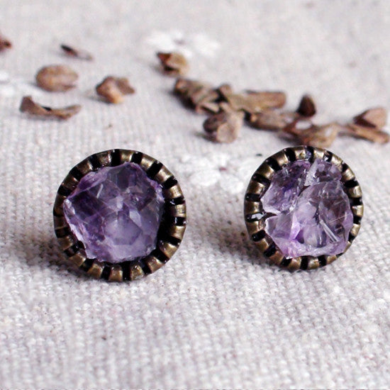 Raw Amethyst Stud Earrings Vintage Copper Handmade Jewelry Accessories Women