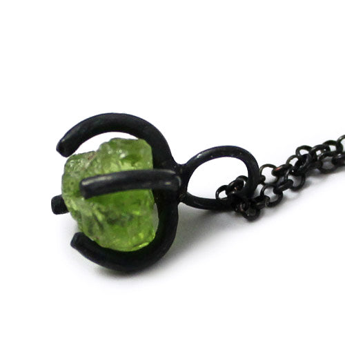 Raw Peridot Pendant Necklace Vintage Silver Handmade Gemstone Jewelry Women